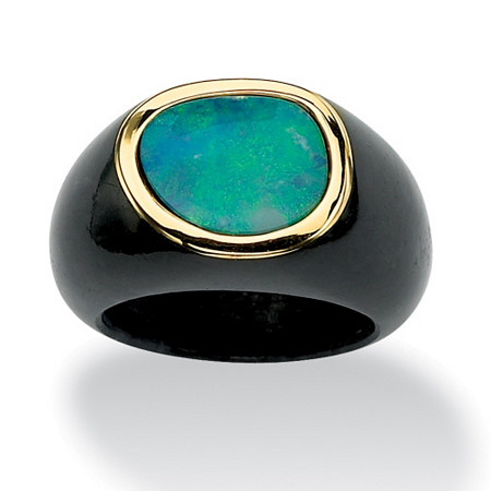 Genuine Blue Opal and Black Jade 10k Yellow Gold Bezel-Set Cabochon Ring at PalmBeach Jewelry