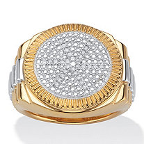 Men's 1/7 TCW Round PavΘ Diamond Two-Tone Ribbed Ring in 18k Gold over Sterling Silver