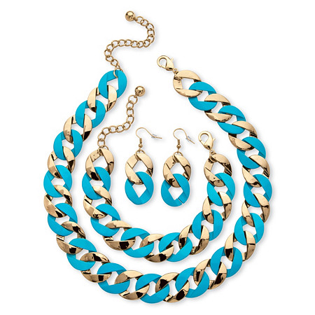 3 Piece Curb-Link Necklace Bracelet and Earrings Set in Aqua Enamel and Yellow Gold Tone at PalmBeach Jewelry