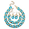Related Item 3 Piece Curb-Link Necklace Bracelet and Earrings Set in Aqua Enamel and Yellow Gold Tone