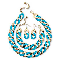 3 Piece Curb-Link Necklace Bracelet and Earrings Set in Aqua Enamel and Yellow Gold Tone