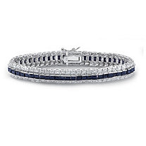 SETA JEWELRY 13.75 TCW Midnight Blue Sapphire and Diamond Accent Tennis Bracelet in Sterling Silver