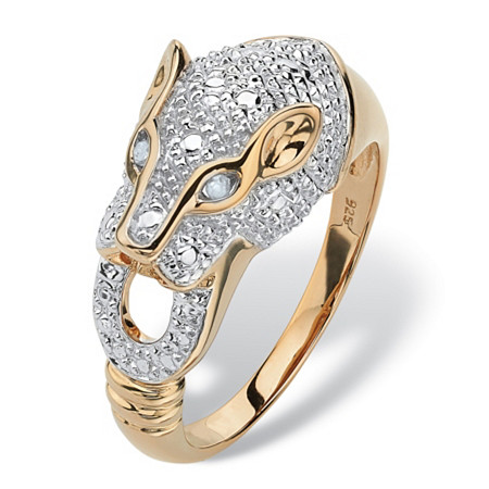 Round Pave Diamond Accent Panther Ring in 18k Gold over Sterling Silver at PalmBeach Jewelry