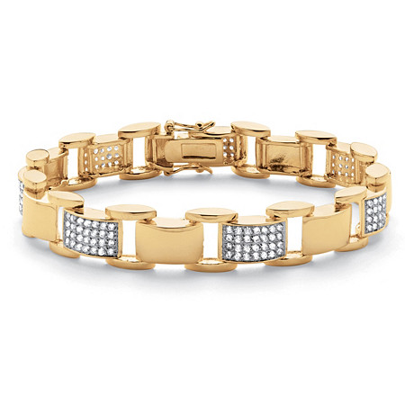 "Men's 3.50 TCW Round Cubic Zirconia 18k Yellow Gold-Plated Bar-Link Bracelet 8 3/4"" at PalmBeach Jewelry"