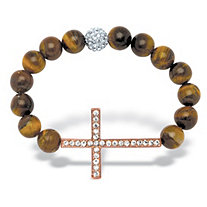 Round Genuine Tiger's Eye Crystal Accent Rose Gold-Plated Horizontal Cross Stretch Bracelet 8""