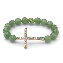 Genuine Green Agate and Crystal Horizontal Cross Stretch Bracelet in Yellow Gold Tone 8""