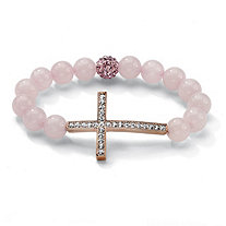 Round Genuine Rose Quartz Crystal Accent Rosetone Horizontal Cross Stretch Bracelet 8""