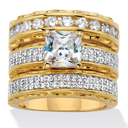310 tcw princess cut cubic zirconia 14k gold plated wedding three piece ring - Gold Wedding Ring Sets