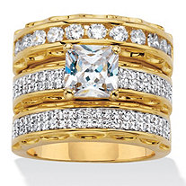 SETA JEWELRY 3.10 TCW Princess-Cut Cubic Zirconia 14k Gold-Plated Wedding Three-Piece Ring Set