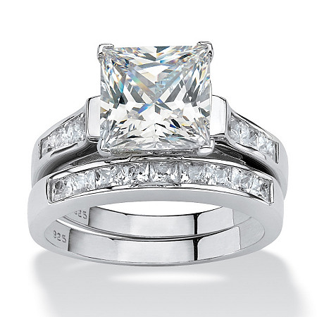3.95 TCW Princess-Cut Cubic Zirconia Two-Piece Bridal Set in Platinum over Sterling Silver at PalmBeach Jewelry