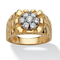 SETA JEWELRY Men's .75 TCW Round Cubic Zirconia 18k Gold over Sterling Silver Nugget-Style Ring