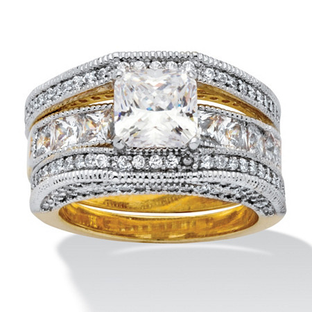 4.42 TCW Princess-Cut Cubic Zirconia 14k Yellow Gold-Plated Beaded Wedding Band Set at PalmBeach Jewelry