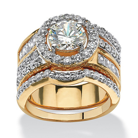 5.15 TCW Round Cubic Zirconia Two-Piece Halo Bridal Set 18k Gold-Plated at PalmBeach Jewelry