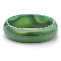 Genuine Green Agate Bangle Bracelet 8""