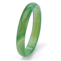 Genuine Green Agate Bangle Bracelet 8.5""