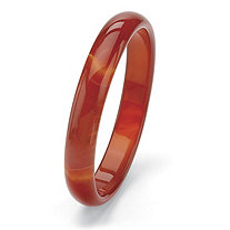 Genuine Red Agate Bangle Bracelet 8""