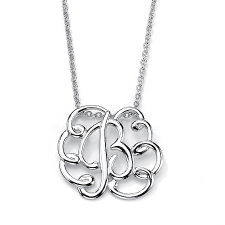 "Sterling Silver Personalized Swirl Pendant Necklace 18"" at PalmBeach Jewelry"