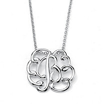Sterling Silver Personalized Swirl Pendant Necklace 18""