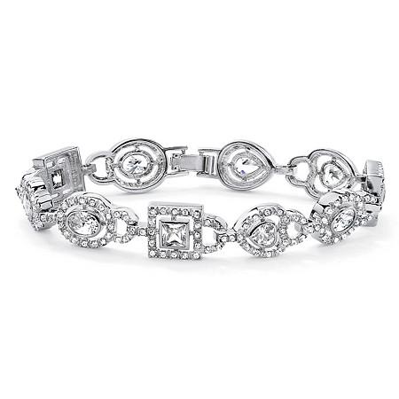 6.78 TCW Multi-Cut Bezel Set Cubic Zirconia Crystal Accent Silvertone Geometric Bracelet 8