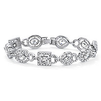 "6.78 TCW Multi-Cut Bezel Set Cubic Zirconia Crystal Accent Silvertone Geometric Bracelet 8"""