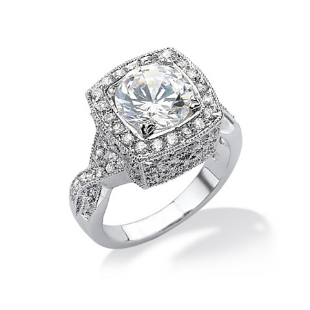 3.76 TCW Round Cubic Zirconia Silvertone Ring at PalmBeach Jewelry