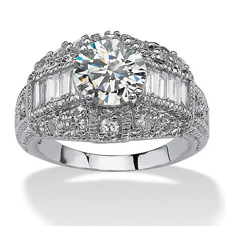 3.17 TCW Round Cubic Zirconia Silvertone Anniversary Ring at PalmBeach Jewelry