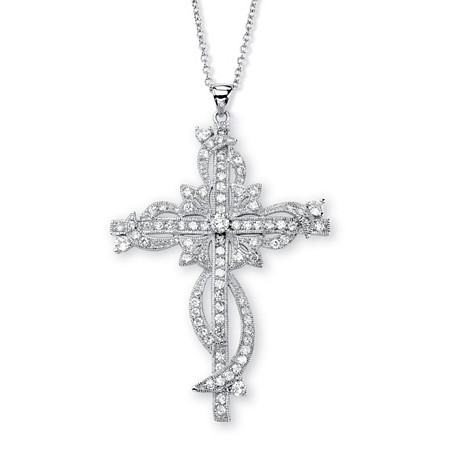 "3.12 TCW Round Cubic Zirconia Cross Pendant Necklace in Silvertone 18"" at PalmBeach Jewelry"