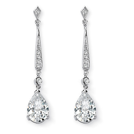 8.39 TCW Pear-Cut Cubic Zirconia Silvertone Drop Earrings at PalmBeach Jewelry