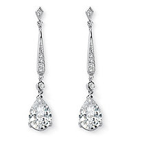 SETA JEWELRY 8.39 TCW Pear-Cut Cubic Zirconia Silvertone Drop Earrings
