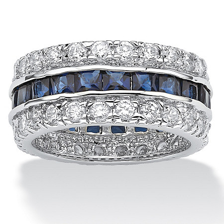 6.66 TCW Princess-Cut Blue Cubic Zirconia White Cubic Zirconia Accent Silvertone Eternity Band at PalmBeach Jewelry