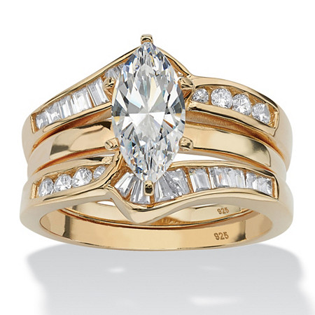 3.57 TCW Marquise-Cut Cubic Zirconia Two-Piece Bridal Set in 18k Gold over Sterling Silver at PalmBeach Jewelry