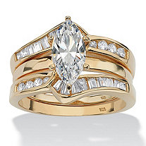 SETA JEWELRY 3.57 TCW Marquise-Cut Cubic Zirconia Two-Piece Bridal Set in 18k Gold over Sterling Silver