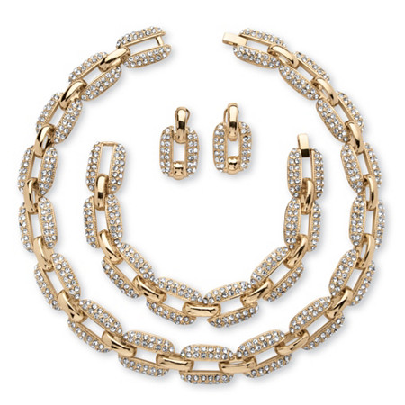 3 Piece Crystal Interlocking-Link Necklace, Bracelet and Drop Earrings Set in Yellow Gold Tone at PalmBeach Jewelry