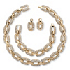 Related Item 3 Piece Crystal Interlocking-Link Necklace, Bracelet and Drop Earrings Set in Yellow Gold Tone