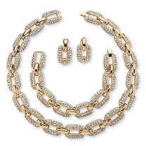 3 Piece Crystal Interlocking-Link Necklace, Bracelet and Drop Earrings Set in Yellow Gold Tone