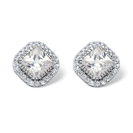 3.84 TCW Princess-Cut Cubic Zirconia Halo Stud Earrings in Platinum over Sterling Silver at PalmBeach Jewelry