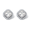 Related Item 3.84 TCW Princess-Cut Cubic Zirconia Halo Stud Earrings in Platinum over Sterling Silver