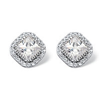 3.84 TCW Princess-Cut Cubic Zirconia Halo Stud Earrings in Platinum over Sterling Silver