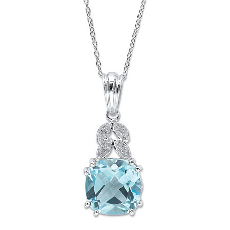 Cushion-Cut Genuine Blue and White Topaz Pendant Necklace 9.83 TCW Sterling Silver 18
