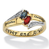 Personalized Marquise-Cut Couple's Name and Birthstone Ring in 14k Gold over Sterling Silver