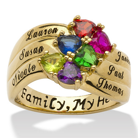 Heart-Shaped Birthstone 18k Gold over Sterling Silver Personalized Family Ring at PalmBeach Jewelry