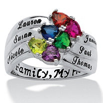Sterling Silver Simulated Birthstone Heart & Name Family Ring