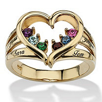 Round Simulated Birthstone Heart and Name Personalized Family Ring 14k Gold-Plated