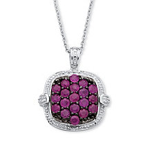1.90 TCW Genuine Round Red Ruby Cluster Pendant Necklace in Sterling Silver 18""