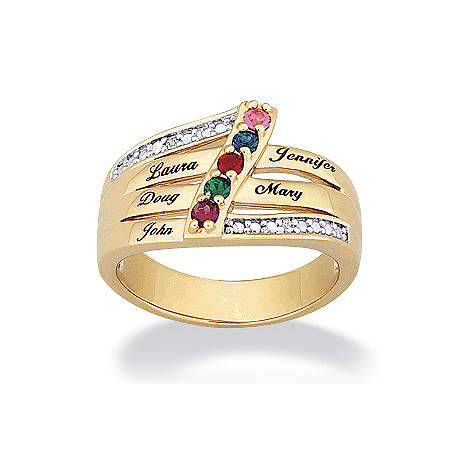 14k Gold-Plated Family Name & Birthstone Ring with Cubic Zirconia Accent at PalmBeach Jewelry