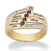 14k Gold-Plated Family Name & Simulated Birthstone Ring with Cubic Zirconia Accent