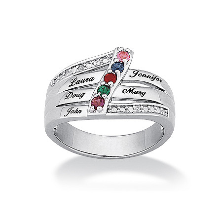 Birthstone Personalized Family Ring in Platinum-Plated Specify 2 to 6 Birthstones at PalmBeach Jewelry