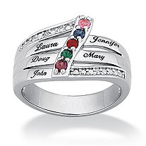 Simulated Birthstone Personalized Family Ring in Platinum-Plated Specify 2 to 6 Simulated Birthstones