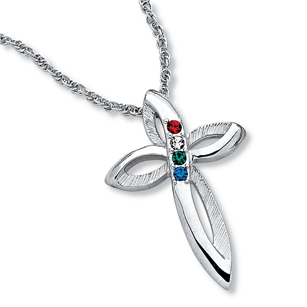 Birthstone Cross Platinum Plated Pendant With 20 Quot Chain At