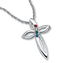Simulated Birthstone Cross Platinum-Plated Pendant with 20